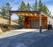 Cedar cladding shed & side entrance